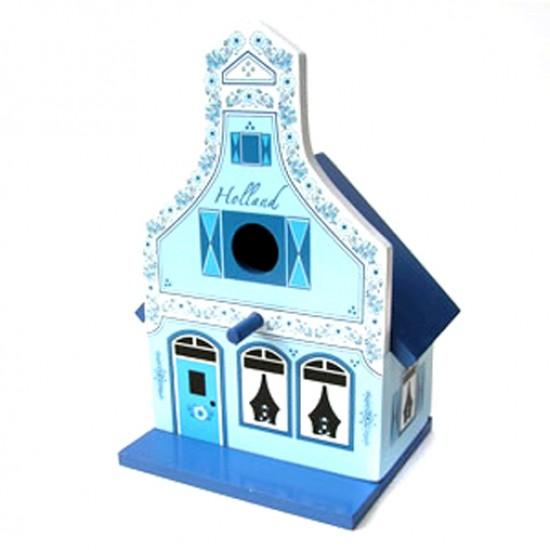 Vogelhaus holz klokgevel delfter blau  27 cm