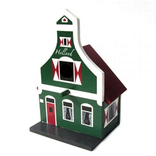 WOODEN BIRD COTTAGE KLOKGEVEL ZAANS 27 CM