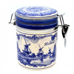 STORAGE JAR DELFT BLUE WINDMILL LANDSCAPE HOLLAND
