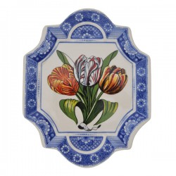 APPLIQUE WALL PANEL DELFT BLUE COLORED TULIPS