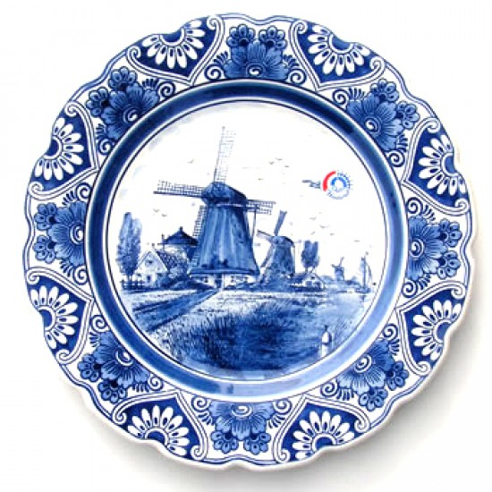 WALL PLATE DELFT BLUE WITH SCALLOPED EDGE 27 CM