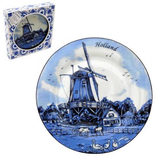 Plate delft blue windmill cows 25 cm