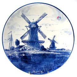 PLAQUE DELFT BLUE WINDMILL LANDSCAPE 20 CM