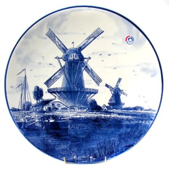 Plaque delft blue windmill landscape 20 cm