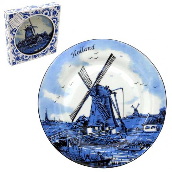 Plate delft blue windmill fishing boat 25 cm