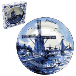 PLATE DELFT BLUE WINDMILL SWANS 25 CM