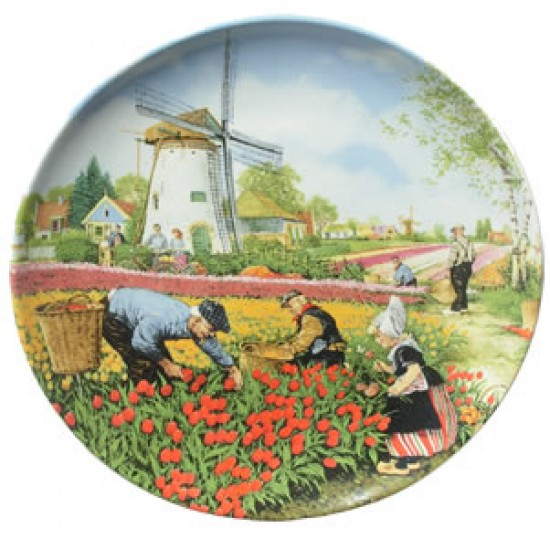 WALL PLATE VAN HUNNIK TULIPS PICKERS COLOR
