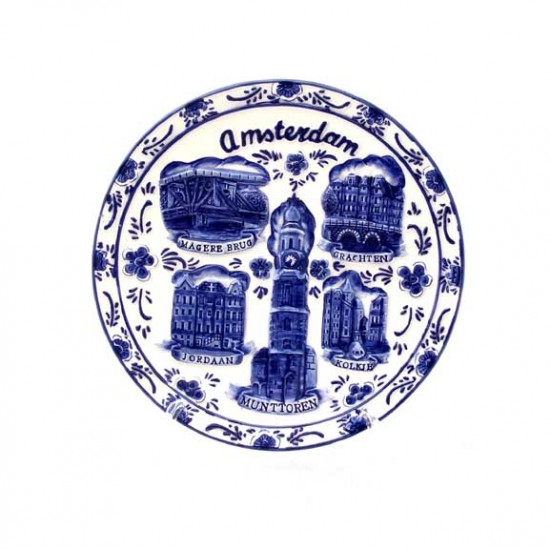 PLATE RELIEF DELFT BLUE WINDMILL AMSTERDAM MONUMENTS  Ø 14.5 CM