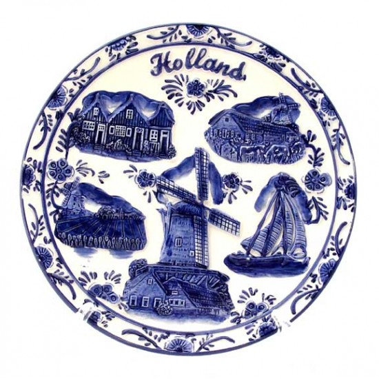 PLATE RELIEF DELFT BLUE WINDMILL HOLLAND DIVERS LARGE Ø 20 CM