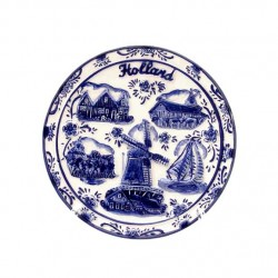 PLATE RELIEF DELFT BLUE WINDMILL HOLLAND DIVERS SMALL  Ø 10 CM