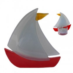 WAXINE HOLDER GLASS BOAT RED 10 CM