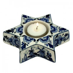 TEALIGHT HOLDER  CHRISTMAS STAR SMALL DELFT BLUE 14 CM