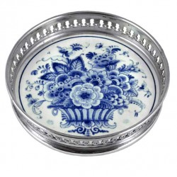 WINE COASTER DELFT BLUE FLOWER BASKET 12 CM