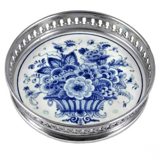 Wine coaster delft blue flower basket 12 cm
