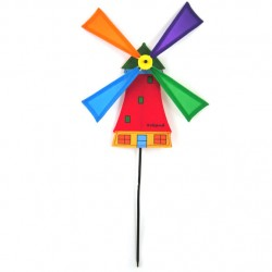 WINDMILL RED NYLON on STICK 50 CM