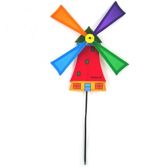 Windmolentje rood nylon op stok 50 cm