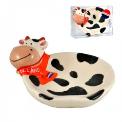 SOAP HOLDER COW COLOR CERAMICS ORANGE SHAWL