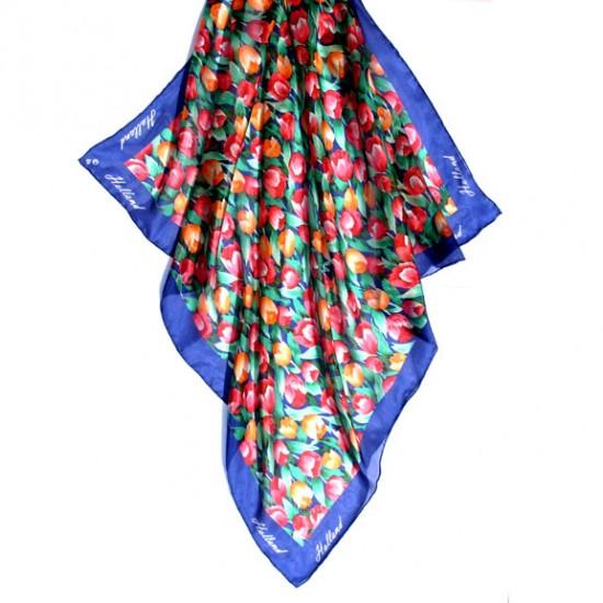 Silk shawl tulips blue holland 74 x 74 cm