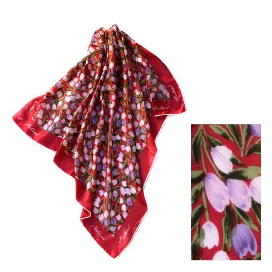 Silk shawl tulips bordeaux holland 74 x 74 cm