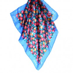 SILK SHAWL TULIPS COBALT HOLLAND 74 x 74 CM