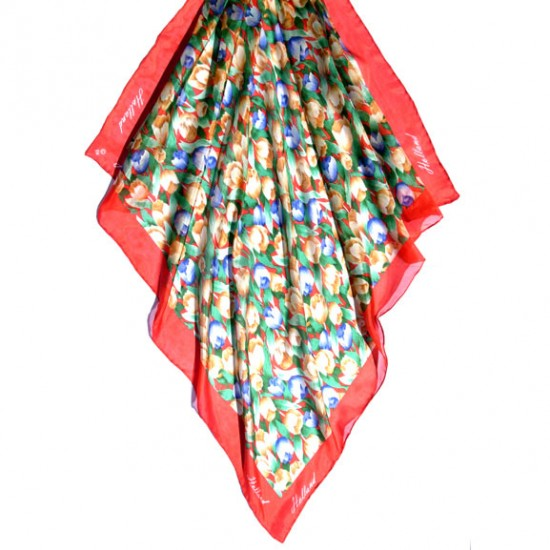 SILK SHAWL TULIPS RED HOLLAND 74 x 74 CM