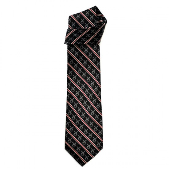 SILK TIE ROBIN RUTH BLUE WINDMILL RED STRIPE