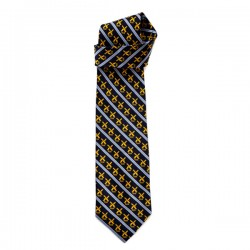 SILK TIE  ROBIN RUTH NAVY BLUE YELLOW WINDMILL STRIPE
