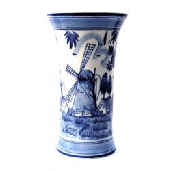 SIDE VASE WINDMILL ROUND DELFT BLUE 21 CM