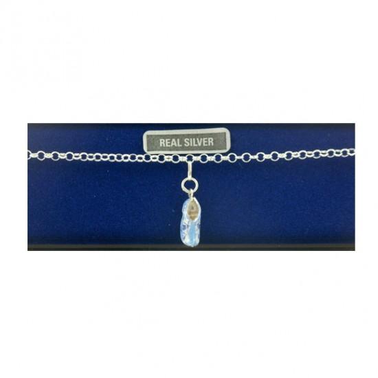 Silver bracelet 18 cm blue cloggie