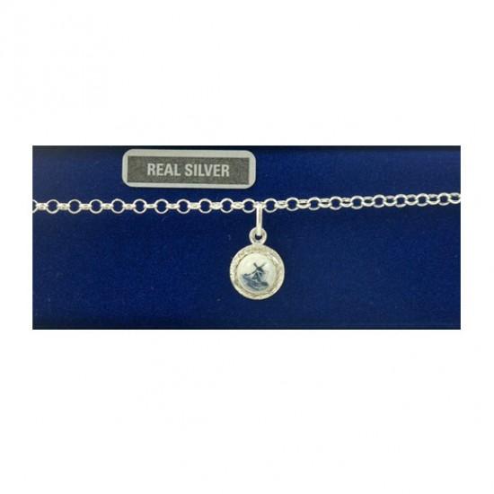 Zilveren armband 18 cm delfts blauw steen molen