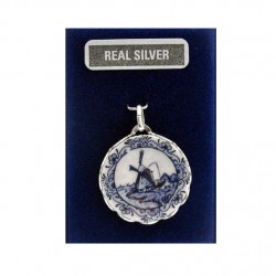 SILVER CHARM DELFT BLUE PLATE 21 MM