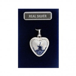 SILVER CHARM HEART DELFT BLUE WINDMILL 18 MM