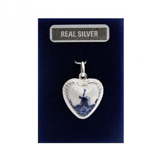 Zilveren bedel hartje delfts blauw molentje 18 mm