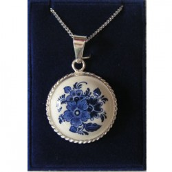 SILVER NECKLACE 42 CM + PENDANT DELFT BLUE STONE FLOWER 22 MM