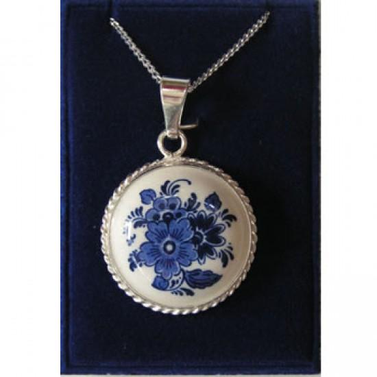 SILVER NECKLACE 42 CM + PENDANT DELFT BLUE STONE FLOWER 22 MM