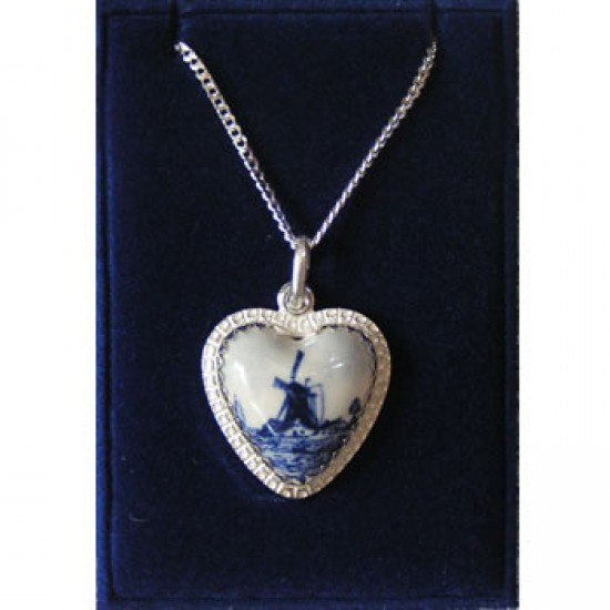 SILVER NECKLACE 42 CM + PENDANT DELFT BLUE STONE HEART WINDMILL 16 MM