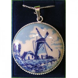 SILVER NECKLACE 42 CM + PENDANT DELFT BLUE STONE WINDMILL ROUND 37 MM