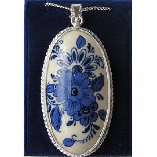 Silver necklace 42 cm + pendant delft blue stone oval flower 47 mm