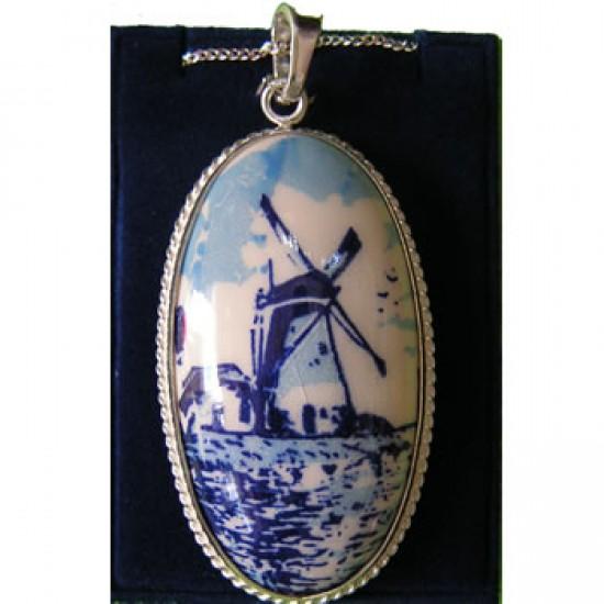 Zilveren ketting 42cm + hanger delfts blauwe steen ovaal molen