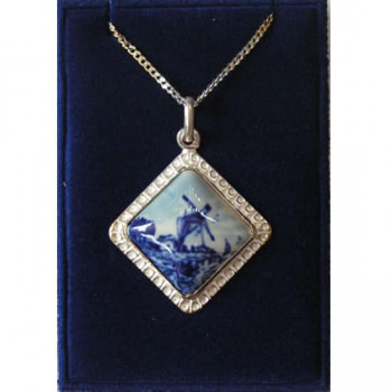 SILVER NECKLACE 42 CM + PENDANT RHOMBIC DELFT BLUE STONE WINDMILL