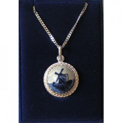 SILVER NECKLACE AND PENDANT DELFT BLUE STONE MILL