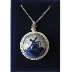 SILVER NECKLACE AND PENDANT DELFT BLUE STONE MILL 22