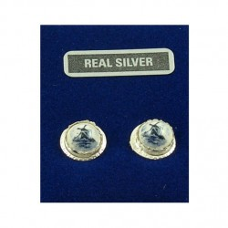 Silver earrings Delft blue windmill 11 mm