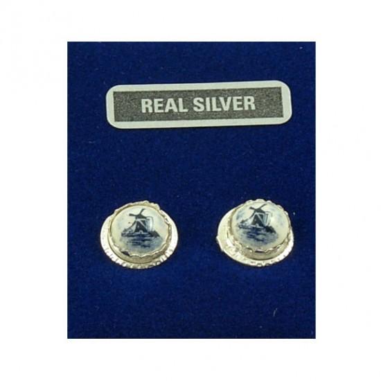 Silver earrings Delft blue windmill 11 mm