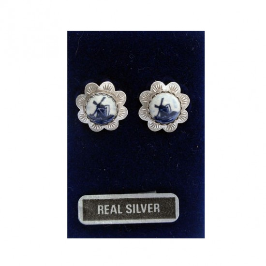 SILVER EARRINGS FLOWER DELFT SILVER EARRINGS FLOWER DELFT BLUE W