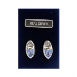 SILVER EARRINGS CLOGGIE BLUE WINDMILL 17 MM